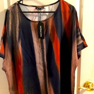 noracora NWT large top short sleeve autumnal colors Orange Charcoal Tan Blouse